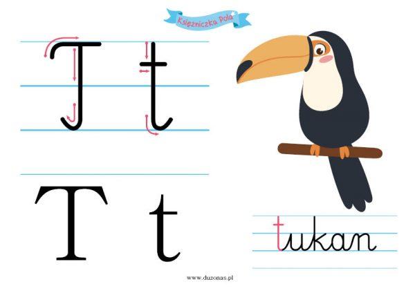 """Karty pracy do druku. Literka """"T"""""""